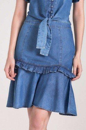 saia evase jeans com babados laura rosa baixo