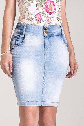 saia jeans lavagem especial bolso bordado laura rosa baixo