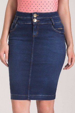 saia jeans escuro cos duplo laura rosa baixo