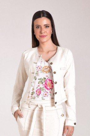 jaqueta feminina creme em sarja laura rosa cima