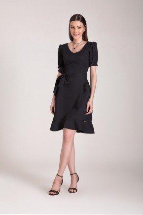 vestido preto evase com babados laura rosa
