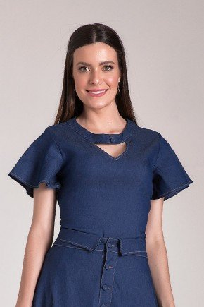 blusa jeans mangas flare laura rosa