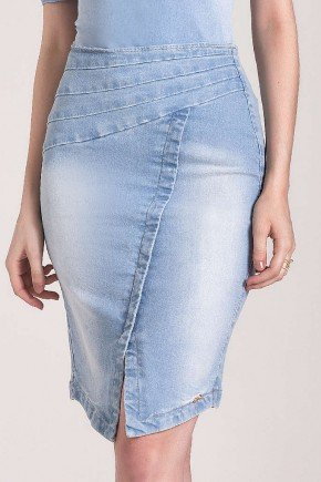 saia jeans lapis recorte assimetrico laura rosa baixo