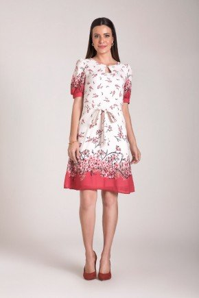 vestido gode estampado com amarracao laura rosa