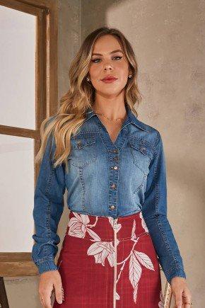 camisa jeans manga longa via tolentino cima