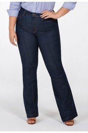 calca jeans flare plus size eloine