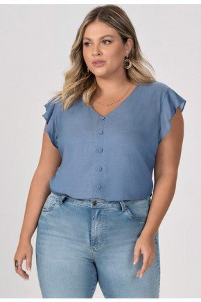 blusa azul com manga evase esme