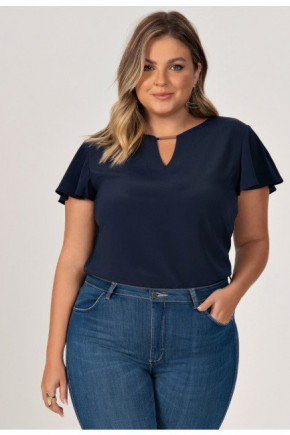 blusa plus size manga gode marinho hilary