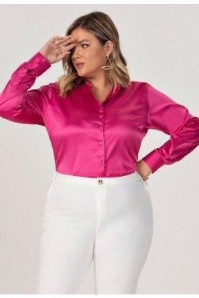 camisa feminina plus size em cetim pink dulcie