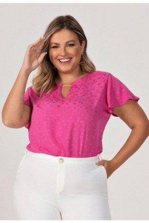blusa plus size de poa pink debbie