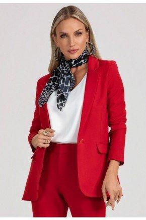 blazer feminino vermelho botao unico dourado carmo frente