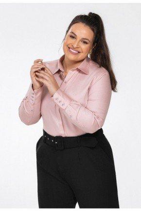 camisa social plus size personalizada rose amber frente