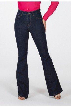 calca jeans escuro flare cintura media sandra