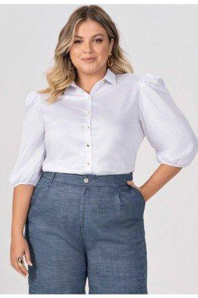 camisa branca plus size com mangas bufantes elmira frente