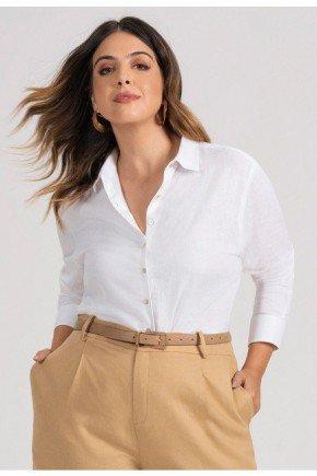 camisa feminina plus size branca de linho amarilis frente