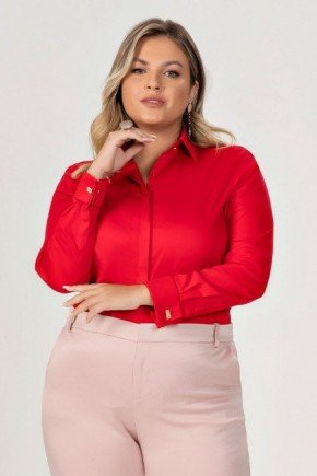 camisa plus size vermelha com abotoadura maristela