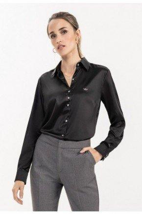 camisa de cetim social preta cinthia