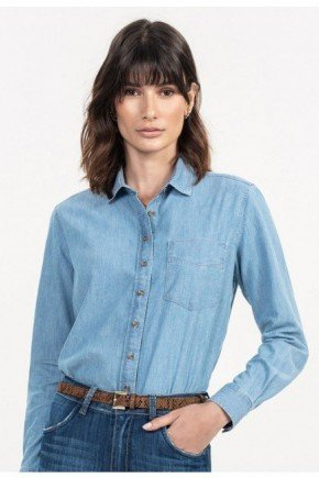 camisa jeans azul manga longa raquely frente
