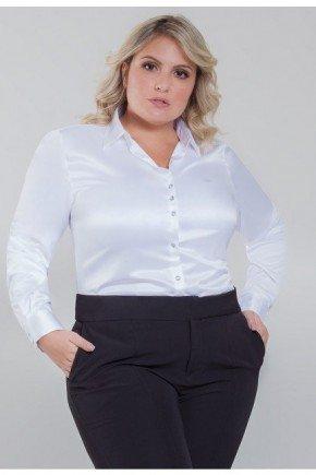 camisa plus size de cetim social branca aurea