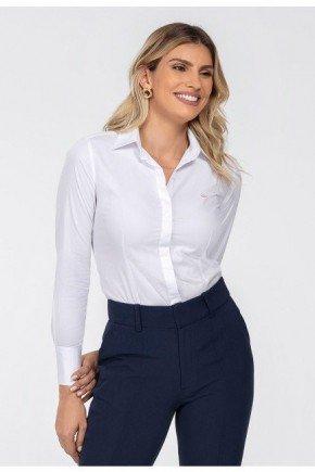 camisa maquinetada branca com botoes de cristal diane