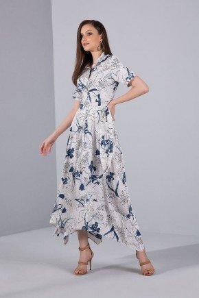 vestido maxi midi floral azul barra assimetrica titanium jeans