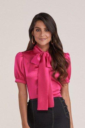 blusa pink acetinada gola laco titanium jeans cima