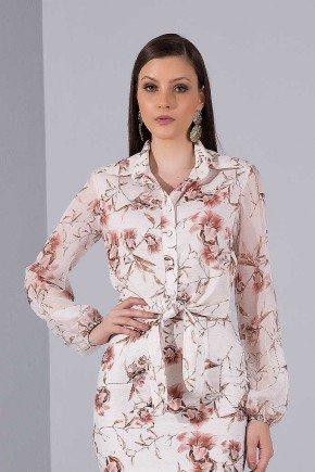 camisa feminina floral rose manga longa titanium jeans