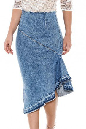 saia jeans justa barrado assimetrico titanium baixo