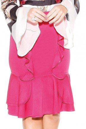 saia evase pink com babados titanium jeans baixo
