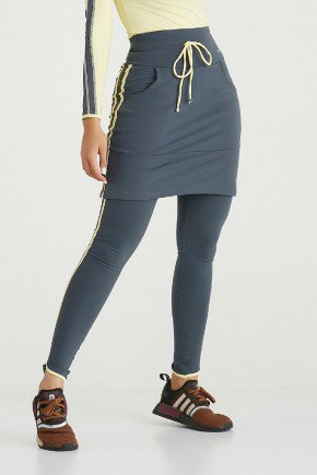 saia calca comprida chumbo supplex original alta compressao moda fitness modesta evangelica epulari frente