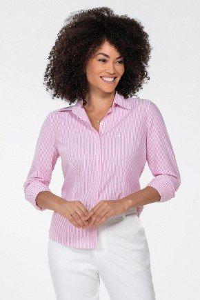 camisa feminina pink listrada jaque frente perfil