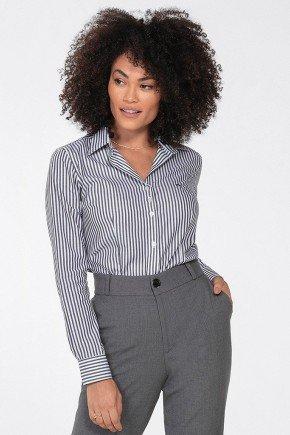 camisa feminina listrado preto e branco joselia frente