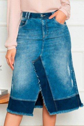 saia midi com fenda e recortes contrastantes nitido jeans baixo