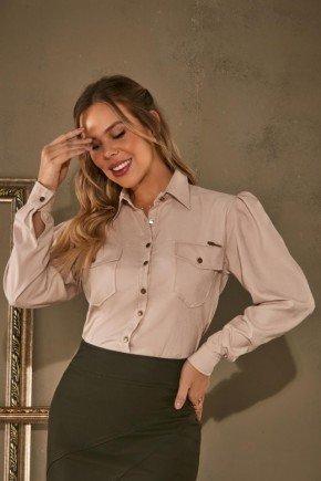 camisa com bolsos frontal frente