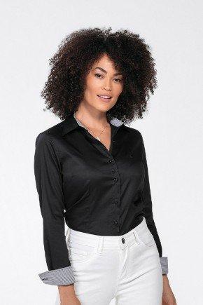 camisa social jasmin manga longa preta principessa cima