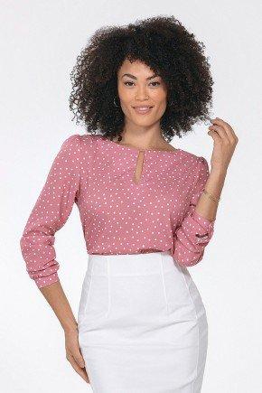 blusa feminina rosa de poa kerolyn