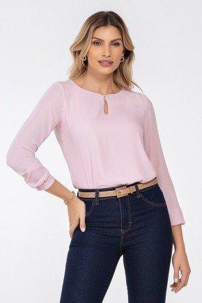 blusa manga longa rosa keila