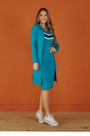 vestido tubinho azul claro com cardigan tata martello