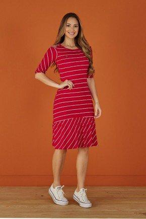 vestido vermelho listrado em malha trico tata martello