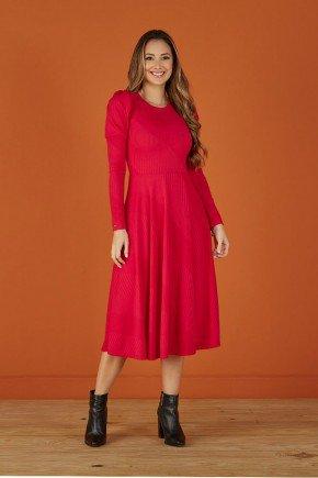 vestido evase vermelho em malha canelada tata martello