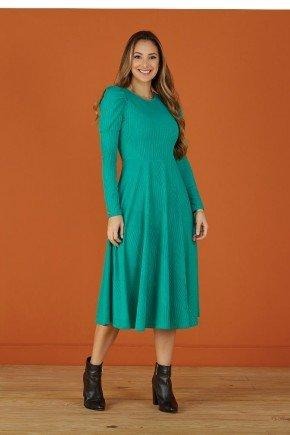 vestido evase verde em malha canelada tata martello
