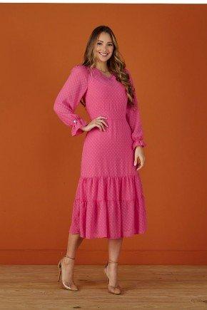 vestido pink em tule com babados tata martello