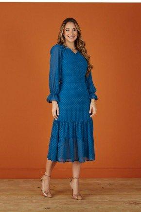 vestido azul em tule com babados tata martello