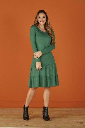 vestido verde evase manga longa tata martello
