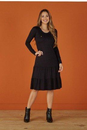 vestido preto evase manga longa tata martello
