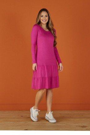 vestido violeta evase manga longa tata martello