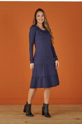vestido azul marinho evase manga longa tata martello