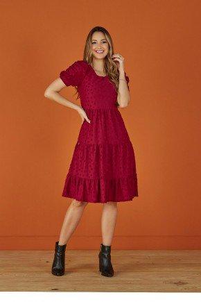 vestido evase vermelho em jacquard tata martello