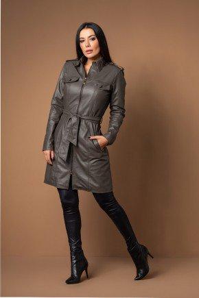 casaco 7 8 com cinto couro legitimo pele mania