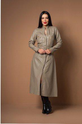 vestido manga longa em couro legitimo pele mania
